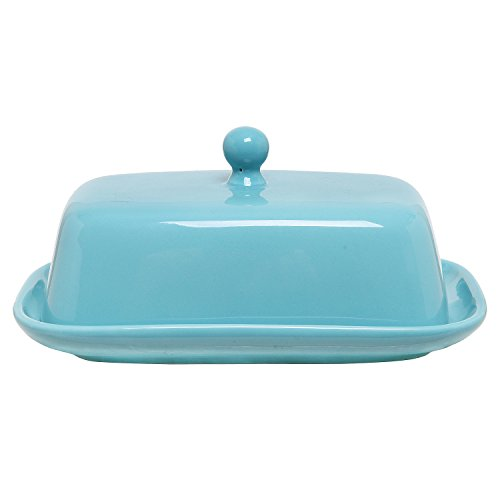 MyGift Turquoise Ceramic Margarine Serving