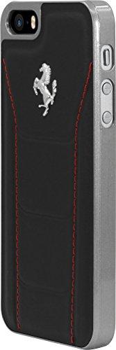 Ferrari 488 Coque en cuir veritable pour Apple iPhone 5/5s/SE, Noir
