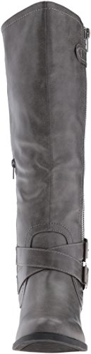 Calf Grey High US 7 Zipper Hansel B Riding and Women's Rampage Regular Boot Buckle Knee M ywBAzcqZ