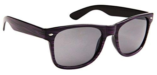 Classic Wayfarer Sunglasses for Men & Women Faux Woodgrain, Smoke Lens (Eggplant Woodgrain) - - Price Rb2140