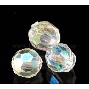 500PCs Clear AB Color Round Faceted Acrylic Crystal Spacer Beads,6mm(2/8