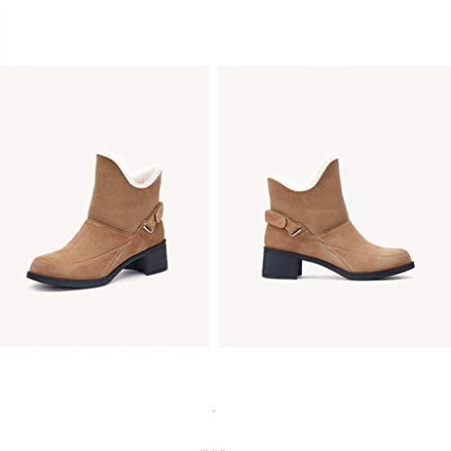 negro Plus Martin De El En Botas shoe Tubo Color Cuero Cálidas Yz Mujeres Camel Velvet Nieve Antideslizantes cY6CSnTqw
