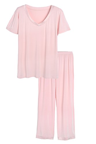 Latuza Women's Bamboo V-Neck Short Sleeves Pajama Set XL Pink