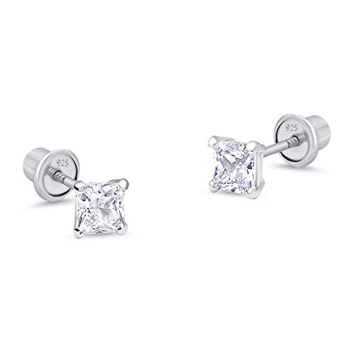 925 Sterling Silver Rhodium Plated 4mm Princess Cut Cubic Zirconia Stud Screwback Baby Girls Earrings