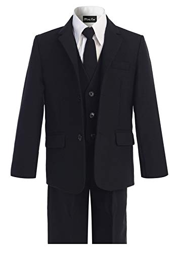 OLIVIA KOO Boys Solid 5-Piece Formal Suit Set With Matching Neck Tie,Black,16 ()