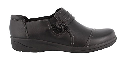 CLARKS Women's Cheyn Madi Slip-on Loafer, Black Smooth Leather, 8.5 M US