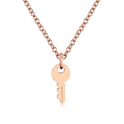 Kebaner Small Key Pendant Necklace Unique Personality Jewelry Gift - Stainless Steel (rose gold)
