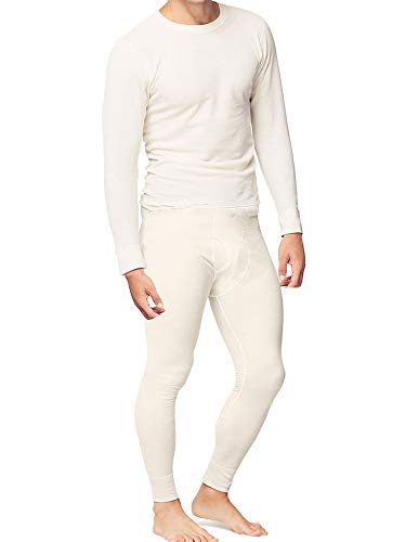 Place and Street Men's Cotton Thermal Underwear Set Shirt Pants Long Johns Fleece Lined White (White Long Pants Men)