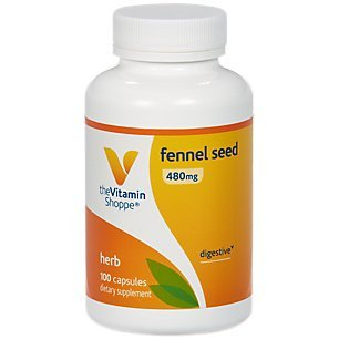 The Vitamin Shoppe Fennel Seed 480MG Foeniculum Vulgare Seed , Herbal Supplement for Digestive Support Intestinal Health 100 Capsules