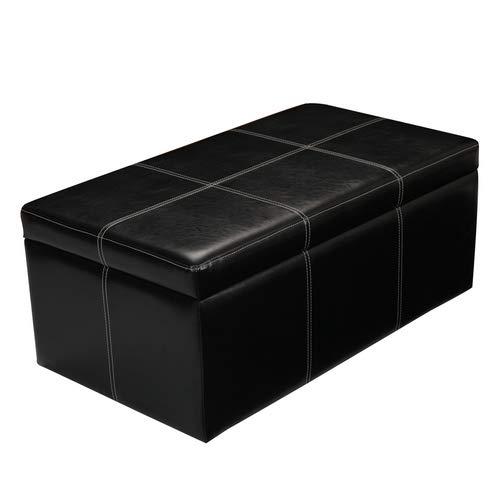 DecentHome Leather Rectangular Storage Bench Ottoman Footstool (Black Tufted)
