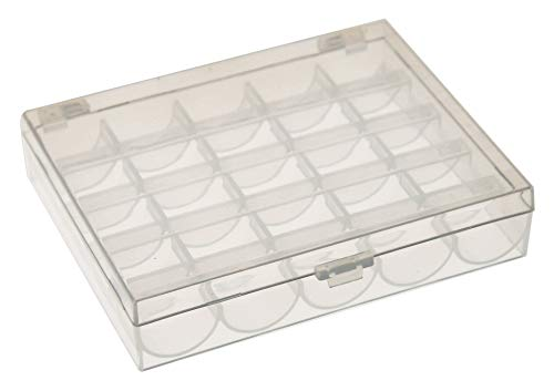 HOME-X Bobbin Storage Case, Box for Thread, Beads, Crafts, 25-Compartment, Singer Elna Brother Janome Sewing Machine-Clear Plastic-4.75