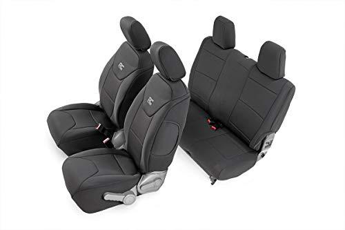 (Rough Country 91005 Black Neoprene Seat Cover (Front/Rear) for 07-10 Jeep Wrangler JK 2-Door)
