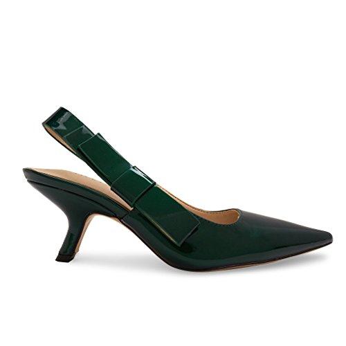 GIRLIE Elegant Bow Side Slingback Mule Sandal Low Heel Patent Leather Emerald Green