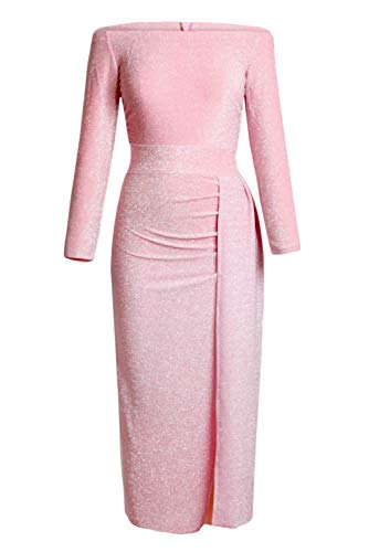 - Happy Sailed Women Half Sleeve Off The Shouder Metallic Knit Slit Evening Party Dresses S Pink