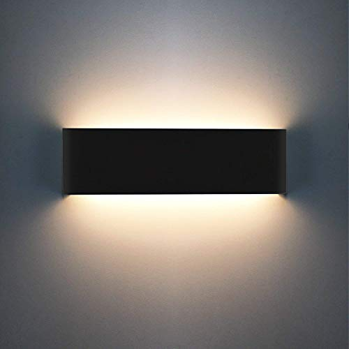 XIAJIA-12W LED Wall Lights,Indoor Lamp,Long28.5CM/11.2 in, Black/Warm White