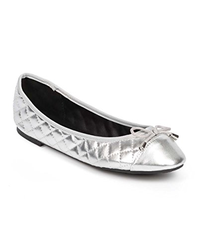 Quilted Metallic Flats (Women Metallic Quilted Bow Cap Toe Ballet Flat DD95 - Silver (Size: 8.5))