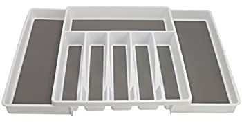 Sorbus Flatware Drawer Organizer, Expandable Cutlery Drawer Trays For Silverware, Serving Utensils, Multi-purpose Storage For Kitchen, Office, Bathroom Supplies (Cutlery Drawer Organizer - White) 1