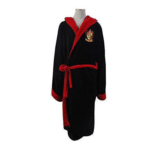 [House Gryffindor Adult Hooded Sleeping Robe Pajama Kimono Hogwarts Robe Black] (Hogwarts Robes Gryffindor)