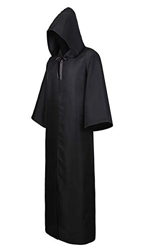 Zhitunemi Men's Black Cloak Hooded Robe Adult Unisex Cloak Knight Halloween Masquerade Cosplay Costume Cape Black 2XL