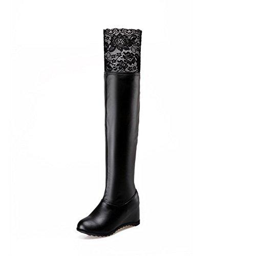 Heels Allhqfashion Women's Round Boots Closed top Black Soft Kitten High Solid Material Toe vvrqH