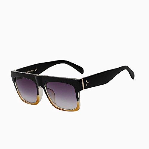grande de calidad femeninos marco plana cuadrado Anteojos Black Oculos de UV400 negro TIANLIANG04 frame de cabeza azul Vintage alta gafas mujer Gafas sol yellow FnwXHaOvxq