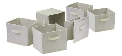 winsome-82611-capri-set-of-6-foldable-fabric-baskets-beige