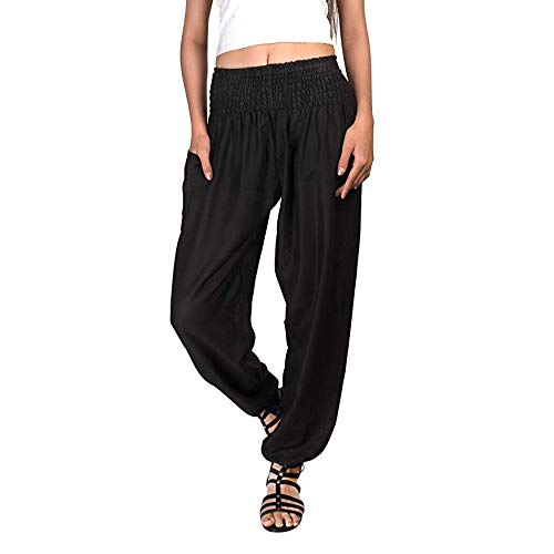 (♥Women's Bohemian Harem Pants, Ladies Fitness Workout Casual Loose Solid Trouser Elastic Waist Lounge Pants)