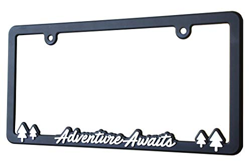 (Spiffy License Plate Frame Adventure Awaits for US/CAN Vehicles with Vibrant Raised Lettering | Heavy Duty Polyurethane | Strong Securing Clips | Original Design | Made in The USA)