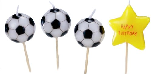 Make Varsity Soccer (Biedermann & Sons Set of 4 Sports Theme Birthday Candles, 12 Packages, Soccer)