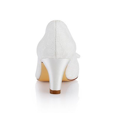 Lace Party Chunky Basic Ivory Shoes Wedding Shoes Crystal Evening Stretch Heel Best Wedding 4U Women's Round Fall Satin Spring for ivory Toe Pump q7xtH