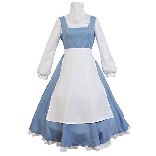SIDNOR Beauty and The Beast Cosplay Costume Princess Belle Outfit Maid Dress Suit Ball Gowns (Large) Blue -
