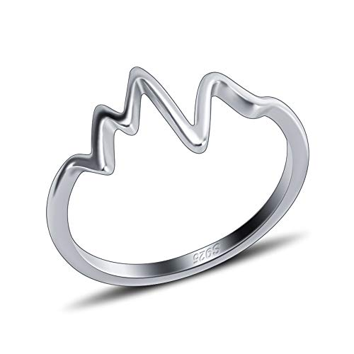 Heart Design Ring - 925 Sterling Silver Heart Beat Design Ring for Women and Girls' Fashion in Size6/ 7/8/ 9/10