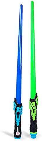 Boley Light Swords – 2 Pack Blue and Green Light-Up Plastic Toy Swords for Boys and Girls – Kids Sword Set