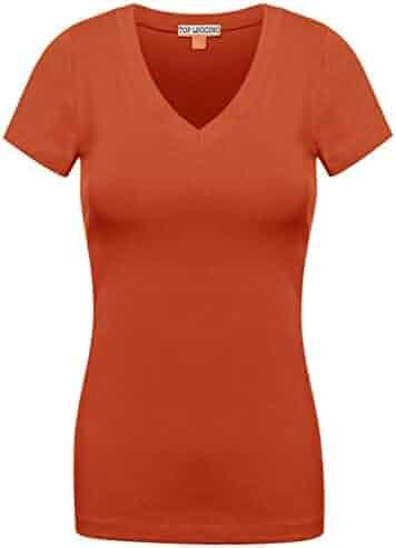 a7b7b4b9fd62 TOP LEGGING TL Comfy Basic Cotton Short Sleeve Solid V-Neck Shirts for Women  -