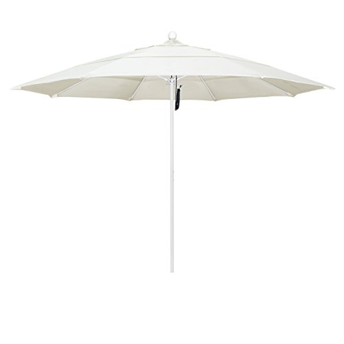 California Umbrella 11' Round Aluminum/Fiberglass Umbrella, Pulley Lift, White Pole, Pacifica Canvas Fabric