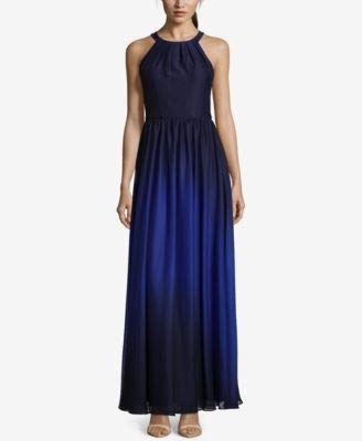 - Betsy & Adam Navy Womens Ombre Chiffon Halter Gown Blue 10