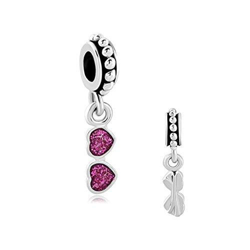 Charmed Craft Love Holiday Charms Purple Sun Glasses Heart Charms Dangle Beads for - Sunglasses Pandora Charm