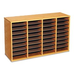 * Wood/Laminate Literature Sorter, 36 Sections, 39 3/8 x 11 3/4 x 24, Me