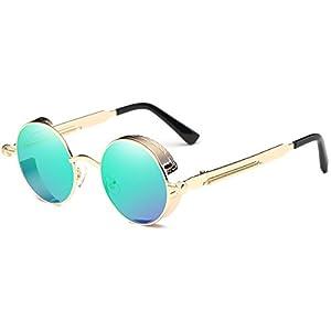 Dollger Vintage Steampunk Retro Metal Round Circle Frame Sunglasses