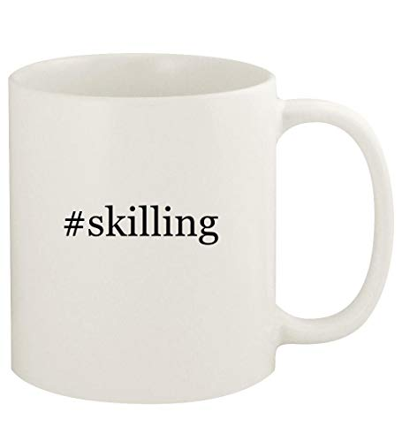#skilling - 11oz Hashtag Ceramic White Coffee Mug Cup, White (Corporate Soft Skills Training Games And Activities)