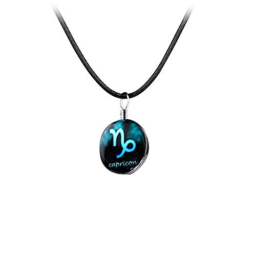 JUESJ Twelve Constellation Time Gemstone Pendant Necklace Lucky Stone Long Leather Cord Sweater Chain for Women Men Couples Birthday Gift (Capricorn)