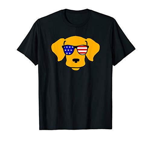 -  Cool Smiley Face American Flag Sunglasses Funny Dog T-Shirt