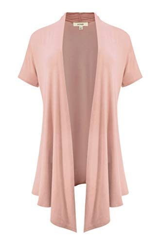 (LUVAGE Women's Soft Drape Cardigan Short Sleeve XS to 6XL Size-Made in USA Dusty Rose)