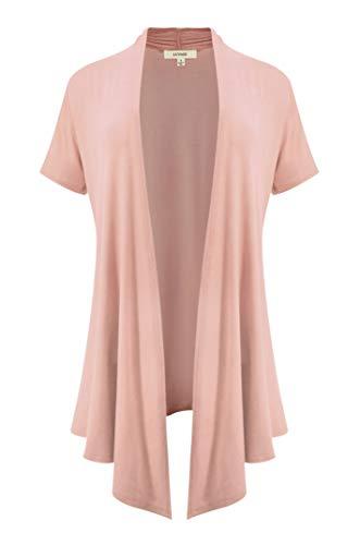 LUVAGE Women's Soft Drape Cardigan Short Sleeve -Made in USA Dusty Rose, Large