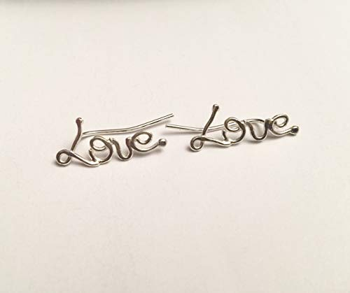 Love Ear Cuff Earrings, Sterling Silver Ear Climbers, Unique Stud Post Sweep earrings, Valentine's Day Gift, Handmade Designer Jewelry
