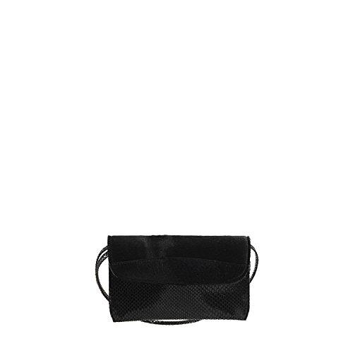 Netta Women Python W GION Bag effect Black Patent Leather Evening Flap Ponyhair 4OnqdwR