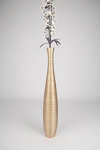 Thai Handmade Tall Floor Vase , Wood, Gold, 6''L x 6''W x 36''H. by WADSUWAN SHOP