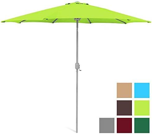 Best Choice Products 9ft Outdoor Water UV-Resistant Market Patio Umbrella w Crank Tilt Adjustment, 180G Polyester, Wind Vent, 1.5in Diameter Aluminum Pole – Light Green