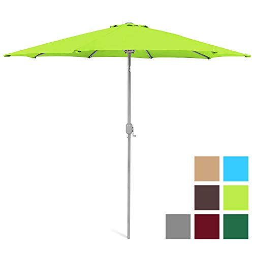 Best Choice Products 9ft Outdoor Water/UV-Resistant Market Patio Umbrella w/Crank Tilt Adjustment, 180G Polyester, Wind Vent, 1.5in Diameter Aluminum Pole - Light Green (Green Lime Umbrella)