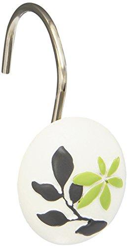 (Popular Bath Mayan Shower Hooks Curtain, Leaf Sage)